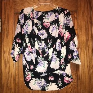 Multicolored Sheer Floral Criss Cross Wrap Blouse